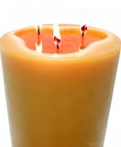 Huge 100% 3 wick solid beeswax pillar candle